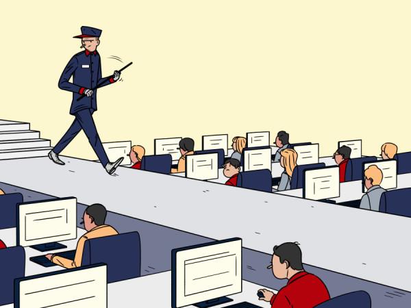 Trabajando como esclavos en la ovficina