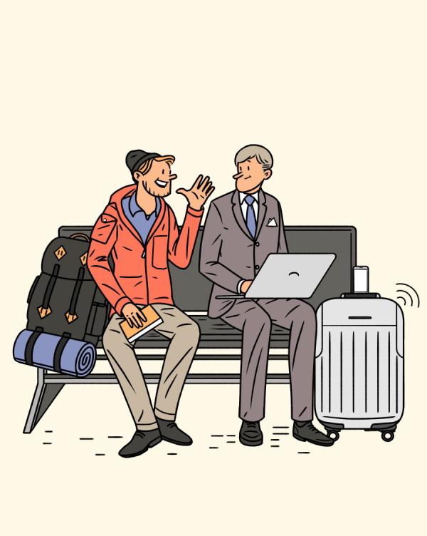 Negocios y placer en el aeropuerto