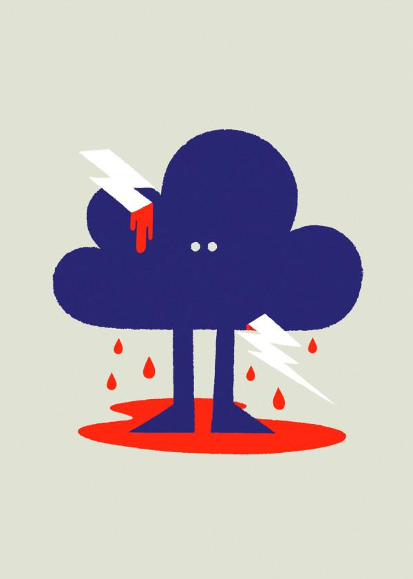 Nube atravesada por un rayo