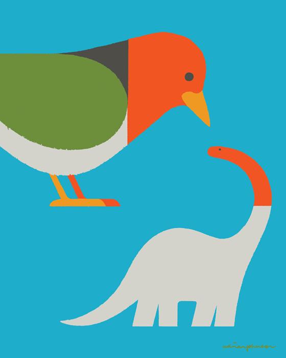 Pájaro, lombriz y dinosaurio