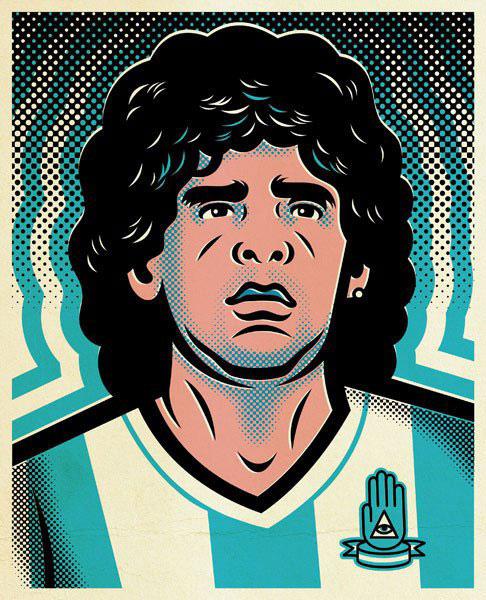 Ilustración de Jorge Alderete sobre Maradona
