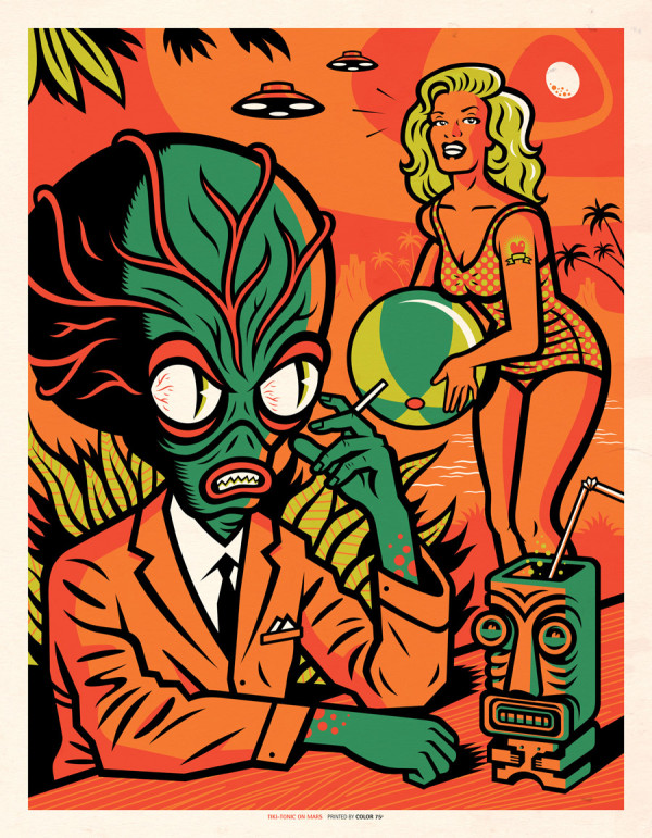 Ilustración de Jorge Alderete con extraterrestre