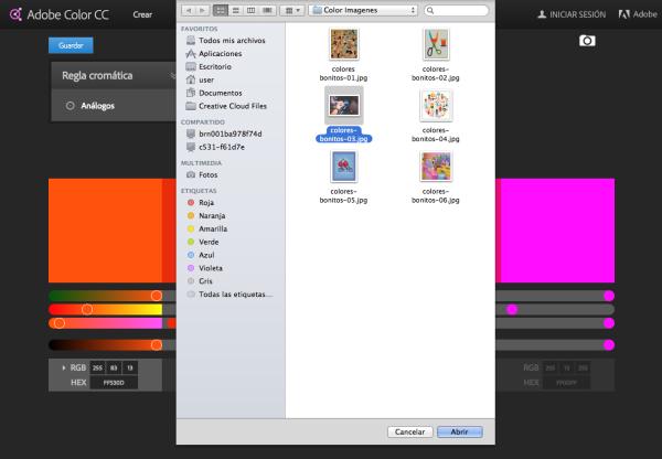 elegir imagen para extraer colores