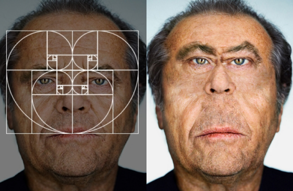 proporciones áureas en el rostro de Jack Nicholson