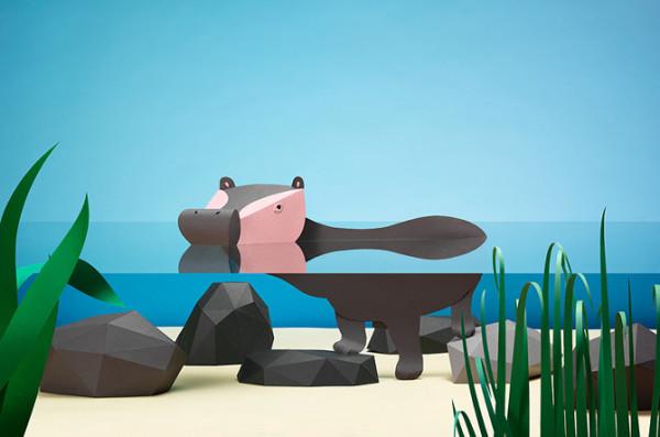 hipopótamo de papel de Fideli