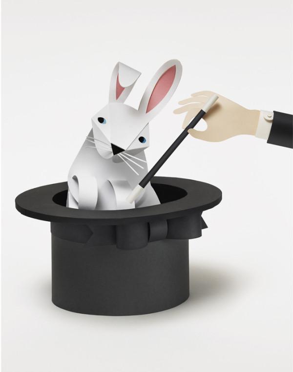 Conejo en una chistera de papel de Fideli
