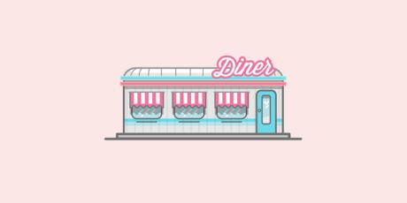 Restaurante dinner ilustrado en estilo flat por miguel camacho