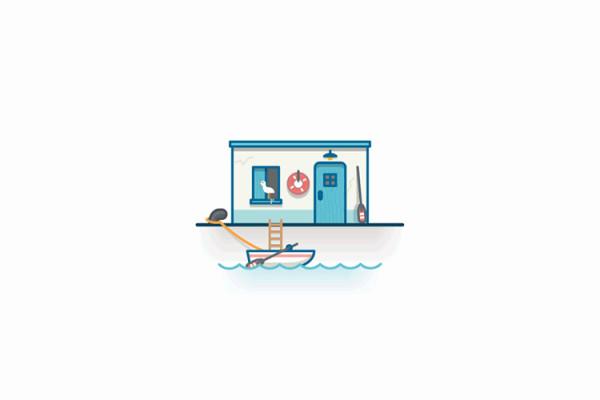 Paisaje marítimo simplificado y flat de Miguel Camacho
