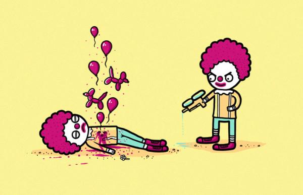 Payasos asesinos con alma de globos