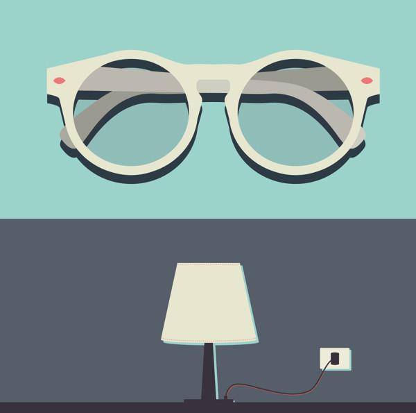 gafas y lámpara de mesa por Valentina Ferioli