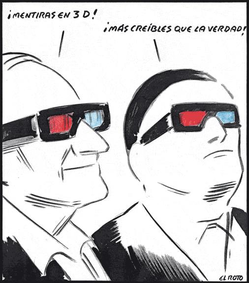 Viñeta de El Roto sobre el cine 3D