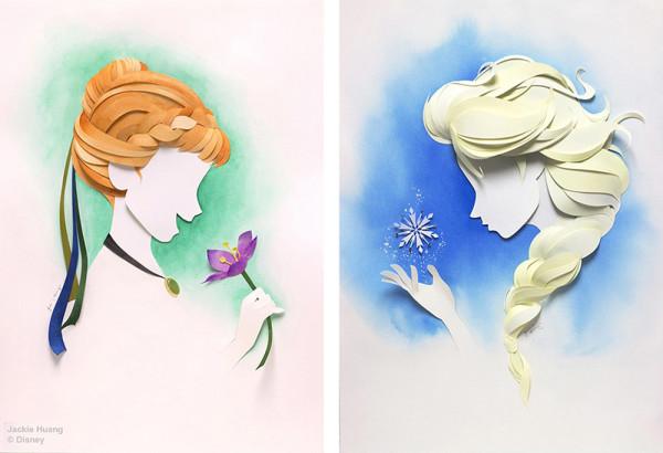 Jackie Huang Disney papercraft papercut frozen anna elsa
