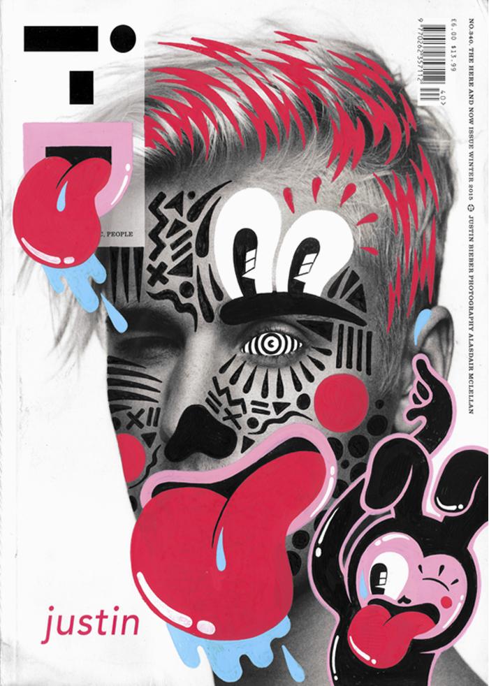 Justin bieber en la portada de I-D intervenida por Hattie Stewart