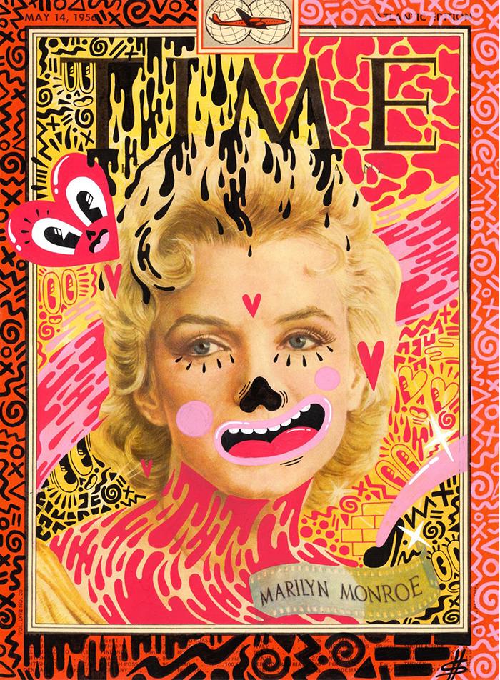 Marilyn Monroe en la portada de Time intervenida por Hattie Stewart