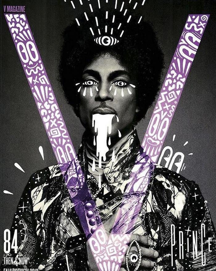 Prince en la portada de V Magazine intervenida por Hattie Stewart