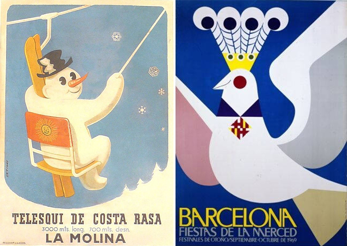 Carteles de Josep Artigas para las Fiestas de la Merced Barcelona y el Telesquí de Costa Rasa
