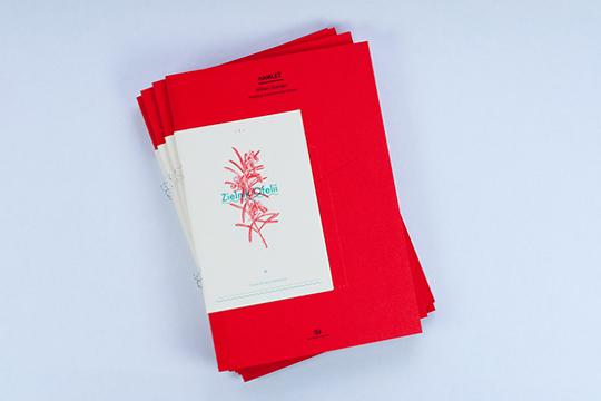 Diseño folleto para Hamlet, Teatro Nacional de Poznan, por Marcin Markowski