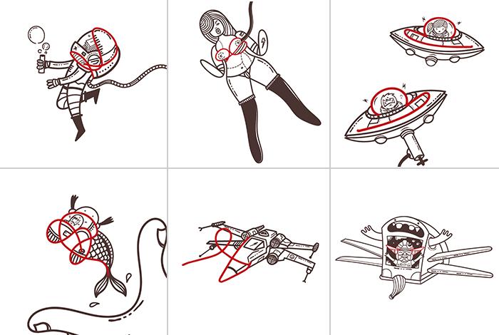 Ilustraciones 1-6 grabatember 2016, por Sr Sleepless