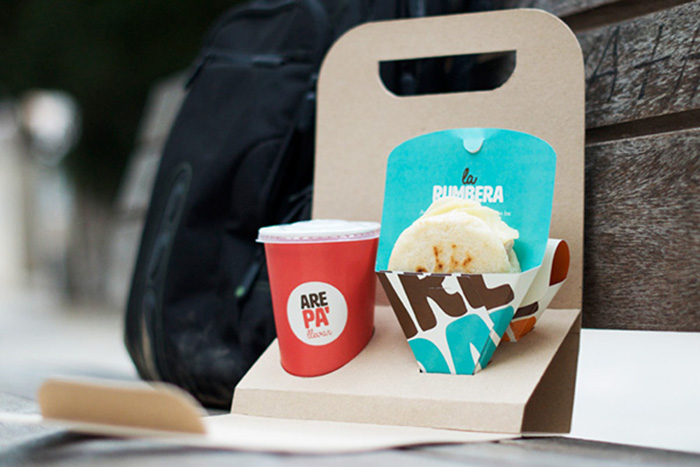 Diseño de packaging para Take Away de Arepas