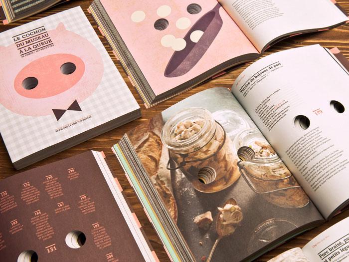 Libro de recetas de cocina con cerdo