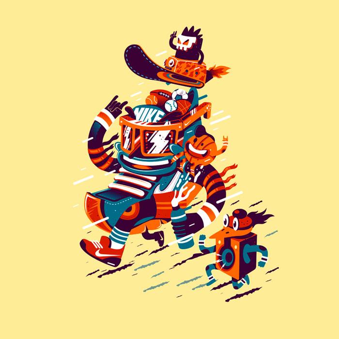 Ilustración para camiseta Nike por New Fren