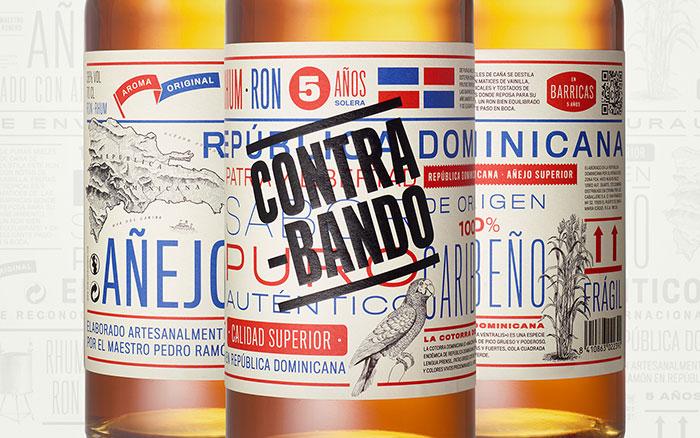 Etiqueta y Packaging para ron contrabando, por Tres Tipos Gráficos
