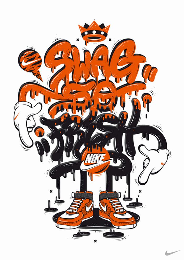Lettering para Nike por DXTR