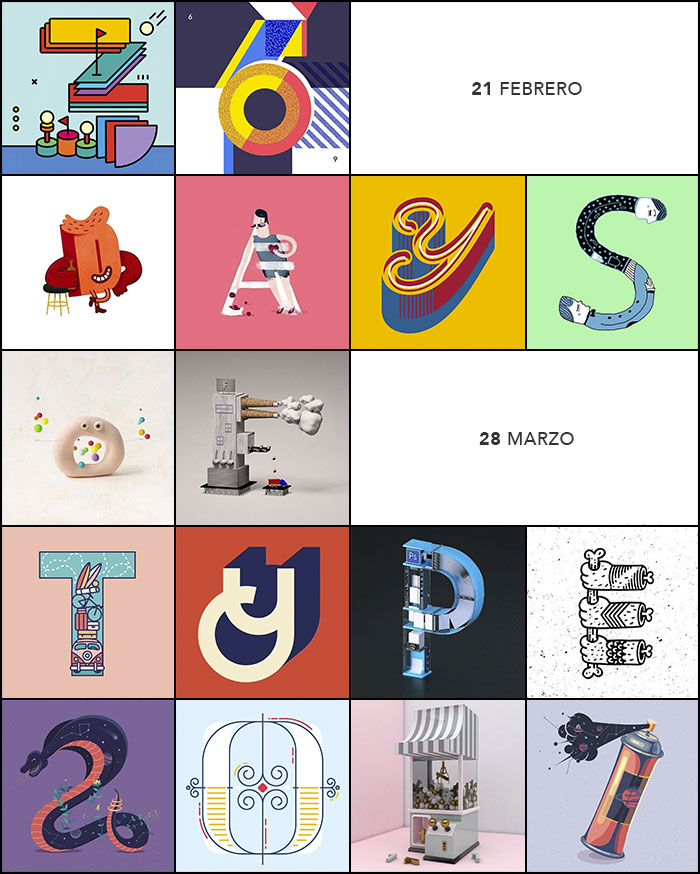 Collage con contribuciones a 36 days of type 2016