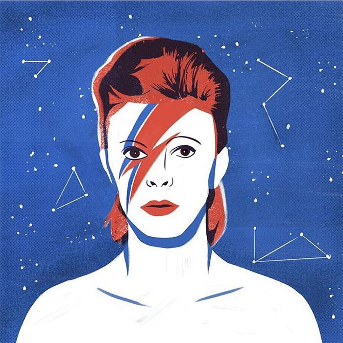 Ilustración homenaje a David Bowie por Andressa Meissner