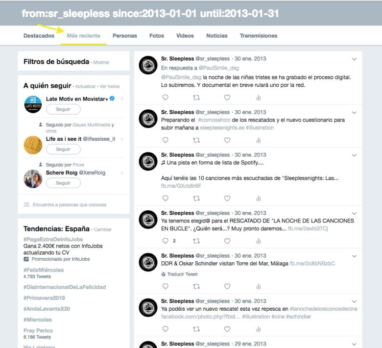como encontrar el primer tweet de una cuenta de Twitter
