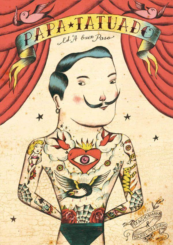 Sergio Mora. Ilustración libro Papá Tatuado