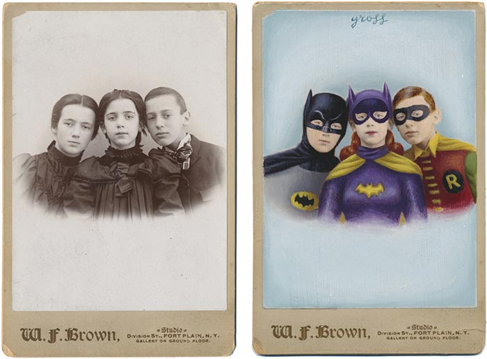Alex Gross obras foto antigua Batman Batgirl Robin