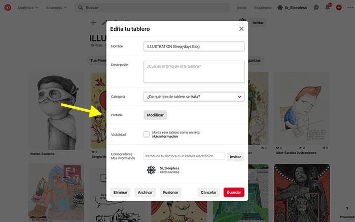 Cómo cambiar portada tableros Pinterest